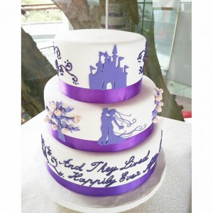 3 tiers purple & white wedding cake