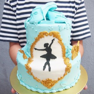 Ballet theme tiffany color cake