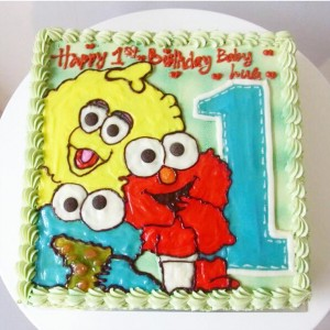 Baby elmo & friends butter cream cake