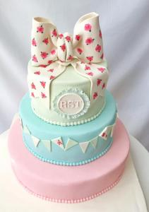 Pastel color Ribbon 3 tier cake