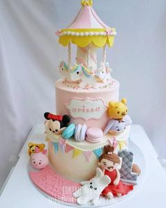 tsum tusm little girl carousel cake