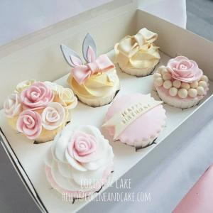 Pastel pink cupcakes for girl