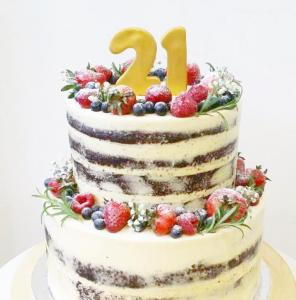 21st year old berries semi naked cake