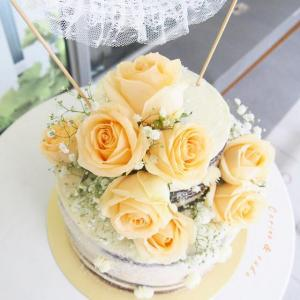 Yellow rose semi naked cake